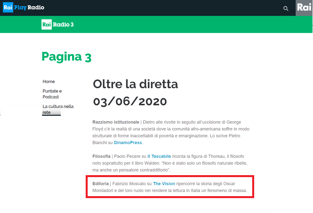 RAI TRE consiglia Fabrizio Moscato